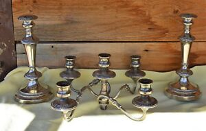Attractive Vintage 3pc Silver On Copper Candlesticks Candelabra Marked Crown