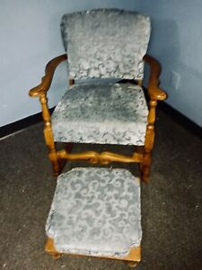 Antique Wood Upholstered Rocking Chair With Footstool