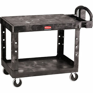 Rubbermaid Heavy duty Flat Shelf Utility Cart 45inlx25 5inwx9inh 500 lb Cap Blk