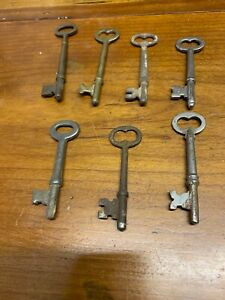 Antique Keys Skeleton Bit Circa 1800 S Lot Of 7