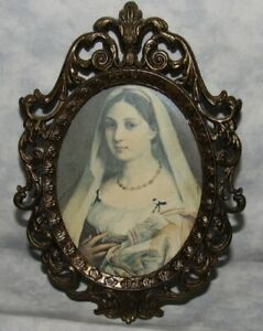 Vintage Ornate Metal Oval Lady Picture Frame Made In Italy