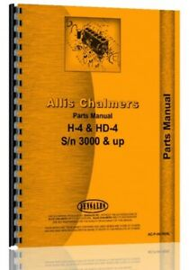Parts Manual Allis Chalmers H4 Hd4 Crawler Sn 3001 Up