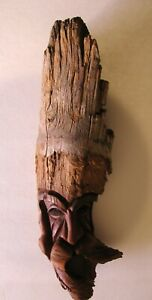 Vtg Hand Carved Wood Mountain Man Forest Face Yosemite Signed Kelly 85 Moustach