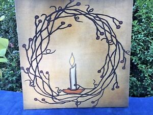 Antique Primitive Wall Art Canvas Pip Berry Twig Wreath Flicker Candle 12 12
