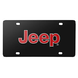 Jeep Red 3d Logo Black Stainless Steel License Plate