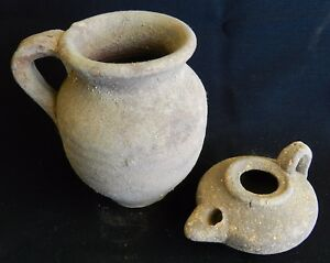 Biblical Ancient Byzantine Roman Clay Pottery Pitcher Jug Oil Lamp Terracotta