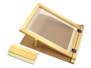 A4 Screen Printing Starter Kit Wooden Hinged Frame Squeegee Complete Set 78528