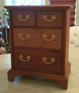 Signed Stickley Cherry Chippendale Style 4 Drawer Sampler Style Chest Of Drawers