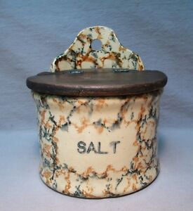 Rare Antique Red Blue Spongeware Salt Box W Wood Lid Primitive