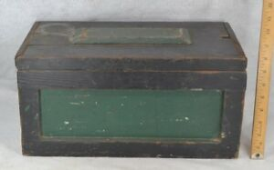 Antique Box Wood Sm Tool Chest Panel Old Grungy Green Paint 17 Original 19thc