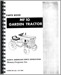 Parts Manual Massey Ferguson 10 Lawn Garden Tractor