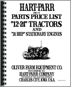 Parts Manual Oliver Hart Parr 24 12 Tractor