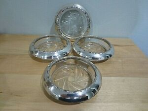 4 Vintage Amston Sterling Silver And Crystal Coasters