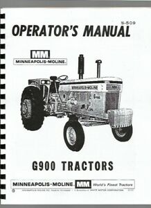Minneapolis Moline G900 Tractor Owners Operators Manual Sn S509