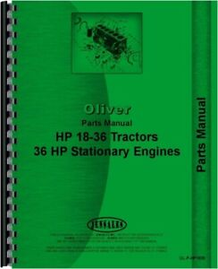Oliver 18 36 Tractor Parts Manual Catalog 36 Hp Stationary Engines Hart Parr