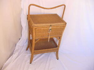 Antique Sewing Basket Hall Table 1890 1910 Victorian Wicker Vintage Original