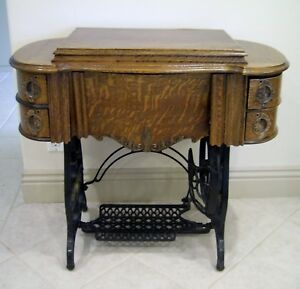 Vtg Antq Tiger Oak Treadle Sewing Machine Table Cast Iron Brass Drop Leaf Ornate
