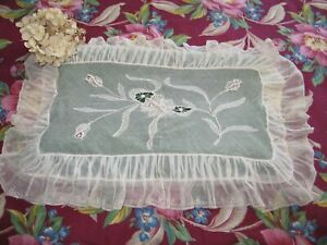 Antique French Lace Pillow Sham White Work Embroidery Boudoir Made In France