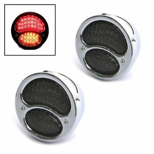 Stop Tail Lights Indicators For Classic Retro Cars Chrome Vintage Style Led