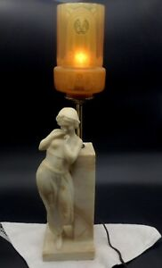 Antique Art Nouveau M Italy Alabaster Carved Woman Table Lamp Art Deco Shade
