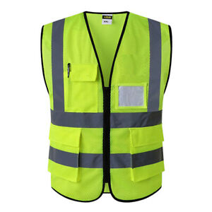 Reflective Safety Vest Engineer Construction Gear With Pockets