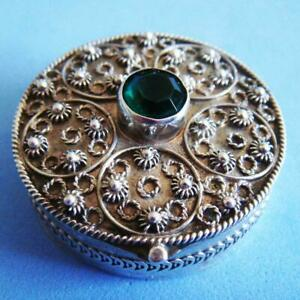 Beautiful Vintage Sterling Silver Rhinestone Ornate Hinged Snuff Pill Box