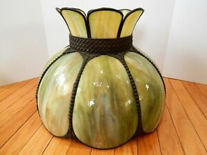 Antique Leaded Slag Glass Hanging Lamp Shade Green Swirl 8 Panel Curved