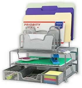 Mesh Desk Organizer With Sliding Drawer Double Tray 5 Stacking Sorter Silver