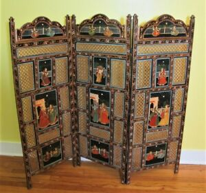 Gorgeous Antique Anglo Indian Hand Painted Carved Three Panel Screen C 1930