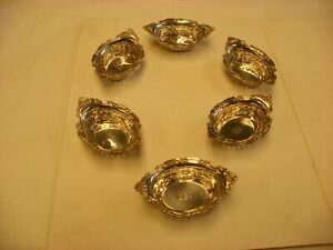 Antique Victorian Sterling Silver Six Ornate Matching Nut Cups Monogram
