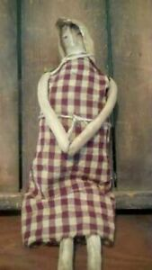 Primitive Handmade Prairie Doll In Checked Dress