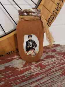 Primitive Americana Grubby Jar Canister Civil War Drummer Boy