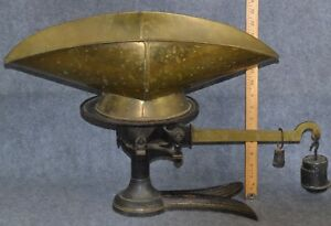 Antique Scale Balance Crow Foot Cast Iron Brass Fairbanks Bucket Store Weights