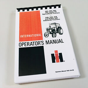 International 484 584 684 784 Hydro 84 Ag Tractor Operators Owners Manual