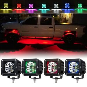 4x Led Work Light Bar Cube Pods Rgb Color Changing Driving Truck Suv 4wd 4x4 Atv