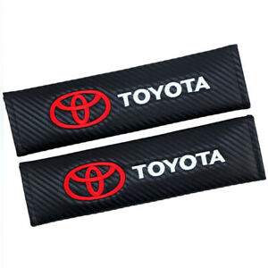 X2 Black Carbon Look Embroidery Seat Belt Cover Shoulder Pads For Honda