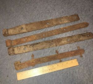 4 Hinges Vintage Cast Iron Strap Hinge Various Sizes Barn Gate Door Farm