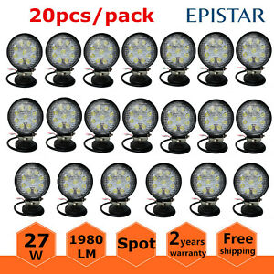 20x Round Led 4inch 27w Work Lights Pod Offroad Fog Driving Spot Boat Cars Ford