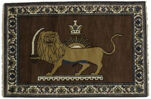 Pictorial Design Hand Knotted Lion 4x6 Indian Rug Oriental Home D Cor Carpet