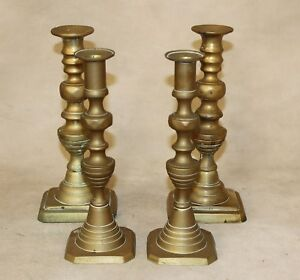 2 Pair Antique Solid Brass Beehive Push Up Candle Sticks Candle Holders