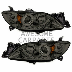 Projector Headlight Chrome Housing Amber Reflector Smoke Lens For 04 09 Mazda 3