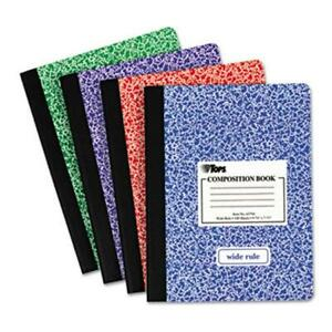 Tops 63794 Composition Book With Hard Cover Wide Rule 9 75 X 7 5 White 100 Sh