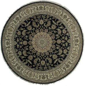 Wonderful Large Traditional Nain Round Indian Area Wool Rug Oriental Carpet 8x8