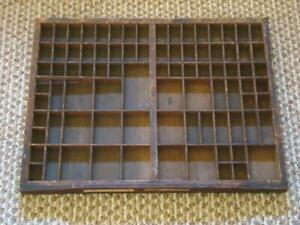 Antique 21 X 16 Wood Printers Tray 86 Compartments Shadow Box Display