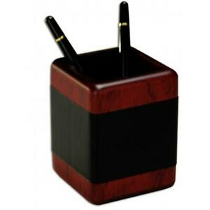 Dacasso A8010 Wood Leather Pencil Cup
