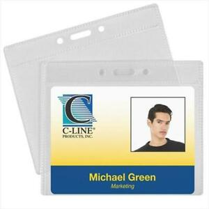 C line Products 89643bndl2pk Id Badge Holders Horizontal 4 X 3 50 pk Set Of