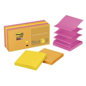 Post it Notes Super Sticky Pop Up 3 X 3 In Ultra Colors 90 Sheet 10 Pack