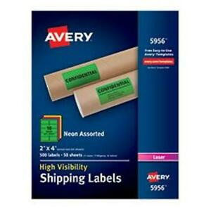 Avery dennison Ave5956 2 X 4 In High visibility Shipping Label Assorted Box