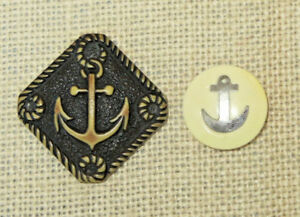 2 Large Vintage Anchor Celluloid Sewing Buttons 2 1 1 8 Metal Inlay Nautical