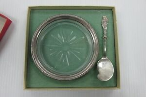 Antique Sterling Silver And Glass Butter Dish With Butter Knife Whiting Q1pp